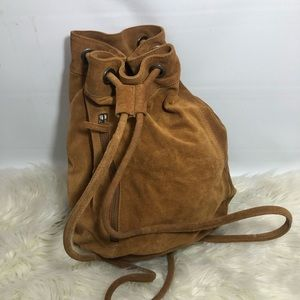 New! Anthropologie Suede Drawstring Backpack